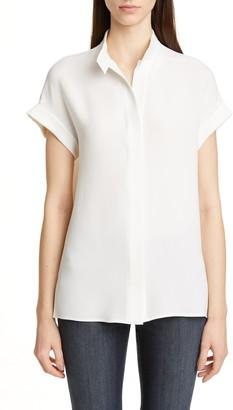 Lafayette 148 New York Tabitha Short Sleeve Silk Shirt