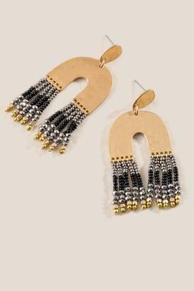 francesca's Lillith Beaded Tassel Chandelier Earrings - Black