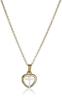 Children's and Baby's 14k Gold-Filled Open Heart with Cross Two-Tone Pendant Necklace