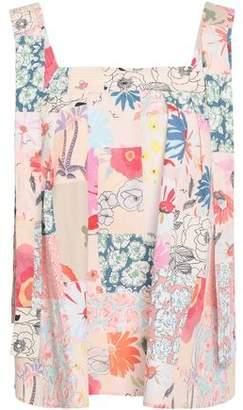 Claudie Pierlot Pleated Floral-print Cotton-poplin Top
