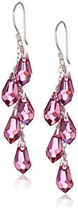 Swarovski Sterling Silver Elements Colored Faceted Multi-Teardrop Earrings