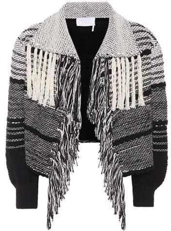 Cropped Jacke aus Tweed mit Fransen