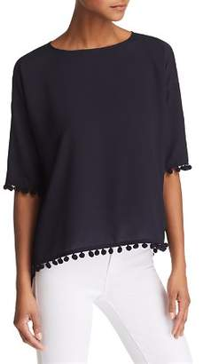 French Connection Crepe Pom-Pom Top