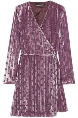House of Holland Polka-Dot Devoré-Velvet Mini Wrap Dress