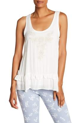 Democracy Embroidered Ruffle Hem Tank Top