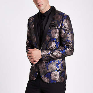 River Island Mens Purple floral print skinny fit blazer