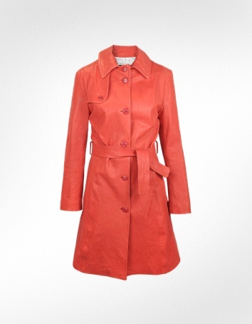 Forzieri Red Leather Belted Trench Coat