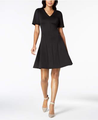 Calvin Klein V-Neck Scuba Fit & Flare Dress