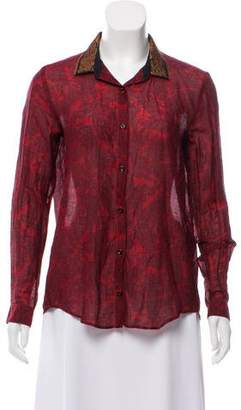 The Kooples Printed Button-Up Top