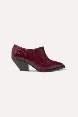 Ganni Cowboy Croc-effect Leather Ankle Boots - Burgundy
