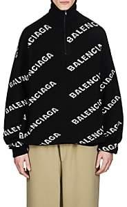 Balenciaga Men's Logo Jacquard Wool-Blend Oversized Sweater - Black