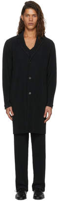 Issey Miyake Homme Plisse Black Pleated Single-Breasted Coat
