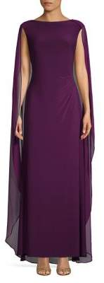 Lauren Ralph Lauren Sleeveless Sheath Cape Gown