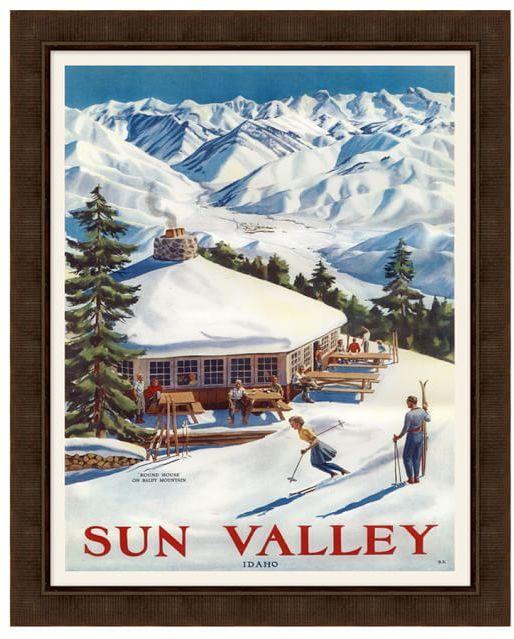 Framed Sun Valley Vintage Ski Poster