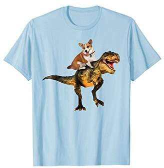 Corgi riding Dinosaur T-shirt