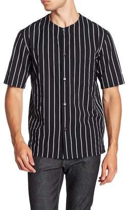 Theory Carmin Rope Stripe Short Sleeve Slim Fit Shirt