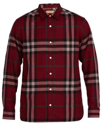 Burberry Richard Checked Cotton Flannel Shirt - Mens - Burgundy Multi
