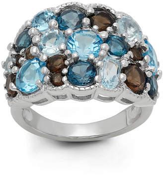 FINE JEWELRY Genuine Swiss Blue Topaz, Genuine London Blue Topaz And Genuine Smoky Topaz Sterling Silver Ring