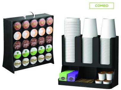 Mind Reader Coffee Accessories Condiment Organizer with K-Cup Holder Storage, 50 Capacity K-Cups, Black