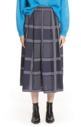 Roseanna Leylight Plaid & Polka Dot Midi Skirt