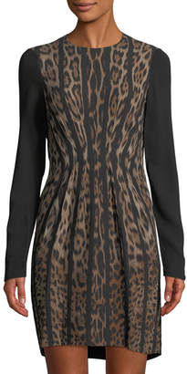 Roberto Cavalli Pleated-Front Animal-Print Dress