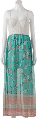 Trixxi Juniors' Lace Chiffon Maxi Dress