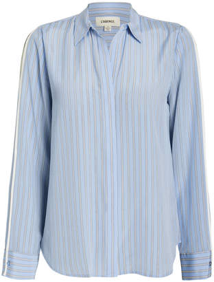 L'Agence Maggie Striped Silk Blouse