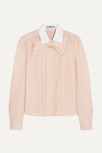 Prada - Bow-embellished Ruffled Striped Cotton Shirt - Peach