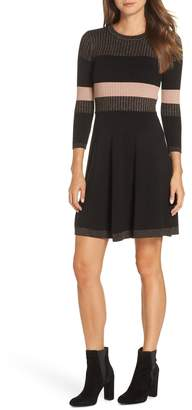 Eliza J Ribbed Fit & Flare Sweater Dress