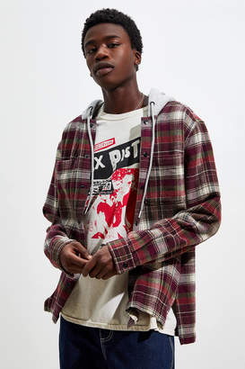 Urban Outfitters Waffle Plaid Hooded Shirt Jacket