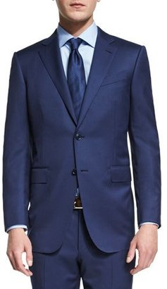 Ermenegildo Zegna Milano Micro-Check Two-Piece Wool Suit, Blue $2,795 thestylecure.com