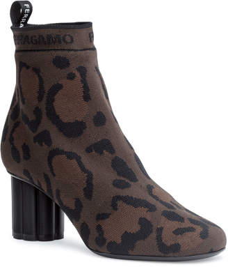 Salvatore Ferragamo Capo 55 leopard sock booties