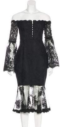 Nicholas Off-The-Shoulder Lace Dress w/ Tags