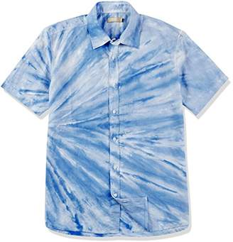 Isle Bay Linens Men's White and Dip Dyed Short Sleeve Standard Hawaiian Shirt