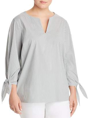 Lafayette 148 New York Plus Khloe Tie-Cuff Blouse