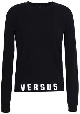 Versace Intarsia-Trimmed Stretch-Knit Sweater