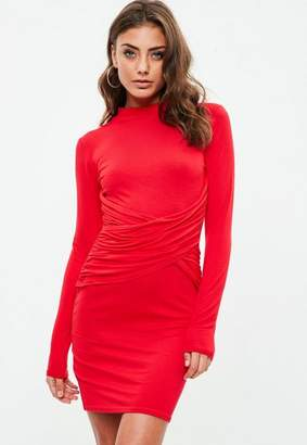 Missguided Red Long Sleeve High Neck Cross Mini Dress