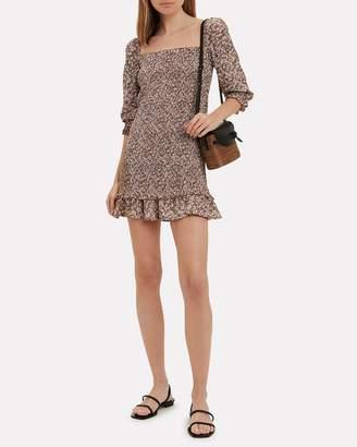 Faithfull The Brand Es Saada Floral Smocked Mini Dress