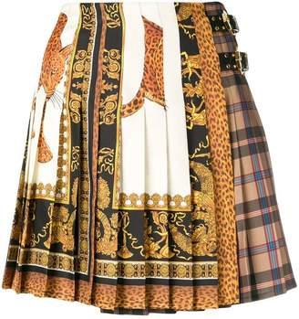 Versace signature print and plaid skirt