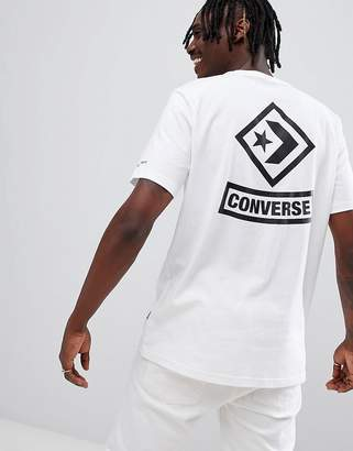 Converse T-Shirt With Diamond Back Print In White 10007194-A04