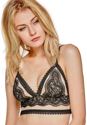 0d38810fc01b3 Dobreva Women s Wirefree Soft Non Padded Longline Lace Bralette