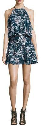 Parker Williame Floral-Print Sleeveless Silk Blouson Mini Dress, Nautic Privett $298 thestylecure.com