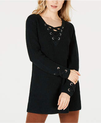 Style&Co. Style & Co Lace-Up Tunic Sweater, Created for Macy's