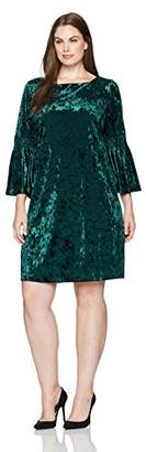 Julian Taylor Women's Plus Size Full Figure Long Rouched Sleeve Velvet Dress