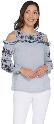 Du Jour Striped Cold Shoulder Gauze Top with Embroidery