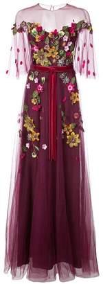 Marchesa floral appliqué tulle gown