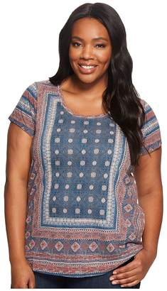 Lucky Brand Plus Size Kanta Border Tee Women's Short Sleeve Pullover