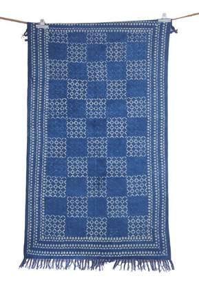 Jaipur Textile Hub Vintage Hand Woven Indigo Color Large Beautiful 4x6 Asian Art Beautiful Rug