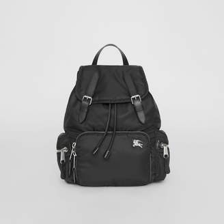 Burberry The Medium Rucksack in Nylon and Leather, Black