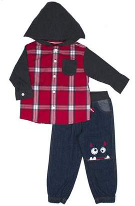 Little Rebels Hooded Woven Button-up Shirt Jacket & Denim Jogger Jeans, 2pc Outfit Set (Baby Boys & Toddler Boys)